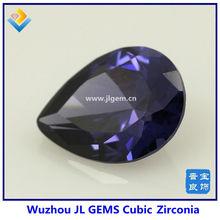 Pear Cut Cubic Zirconia Dark Amk Gemstone In Customized Size