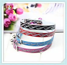 Selling PU Leather dog chain Collar prices Fashion Pet Cat Dog Training Collar,Glitter collars with bells