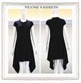 Para mujer vestido de moda negro Cap mangas de una sola pieza del vestido ocasional plisado señora dress