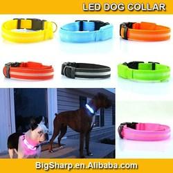 Pet cat 2.0width Small LED webbing Collar Dog 7 Colour LED Light String Cute Nylon Collar width 2.0cm for Small Dog bright light