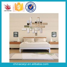 Custom Removable Sliver Color Square 3d Diy Mirror Wall Sticker Home Decor for Living Room