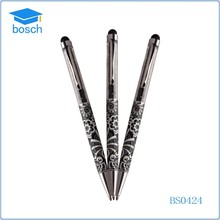 Hot-selling short crystal metal pen , small crystal stylus touch pen