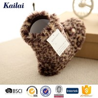 High quality leather with fur pom pom boots for women