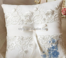 Western style popular design wedding ring pillow,embroider lace ring cushion set,wedding decoration