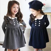 2015 NEW AUTUMN FASHION BABY DOLL COLLAR DOUBLE BREASTED LONG SLEEVE DRESS