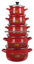 Diseño esmalte cazuelas utensilios únicos con tapas de vidrio