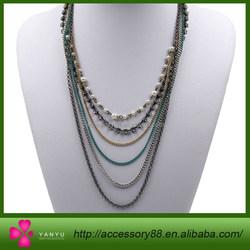 Fashion multi chain Necklace, pearls, diamonds, gold, Silver necklace chain