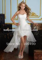 ED150 2012 Free shipping front short and long back wedding dress