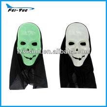 Halloween Mask Glow in Dark Ghost Mask with black hood