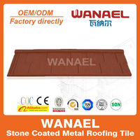 Economic anti-UV high quality Stone-coated steel roof tile/interlocking roof tiles