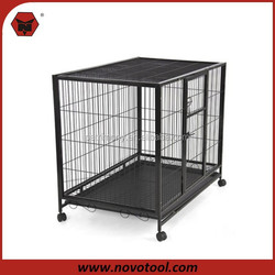 2014 Hot Iron Wire Folding Dog Cage With Wheels / Dog Cage