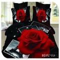 4 100% piezas de puro algodón de color rojo y rosa reactiva imágenes impresas 3d conjunto ropa de cama