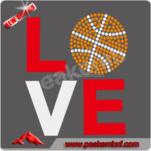 Bling Love Glitter Heat Transfers Basketball Rhinestone Motif Iron ons for T-shirt and Tees