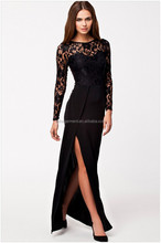 Hot 2015 summer Long Sleeve Lace Long Evening Formal prom cocktail balck Maxi Dress guangzhou factory
