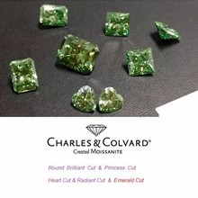 Fancy Green Colored Synthetic Loose Moissanite Stones Wholesale Charles Colvard Certified different shapes available