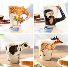 Creative gift Ceramic coffee milk tea mug 3D animal shape Hand painted animals Giraffe Cow Monkey Dog Cat Camel Elephant cup