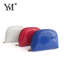 OEM fashion lady modella promotional PVC leather cosmetic bag