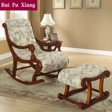 American classic solid wood fabric rocking chair, leisure chair Y-201