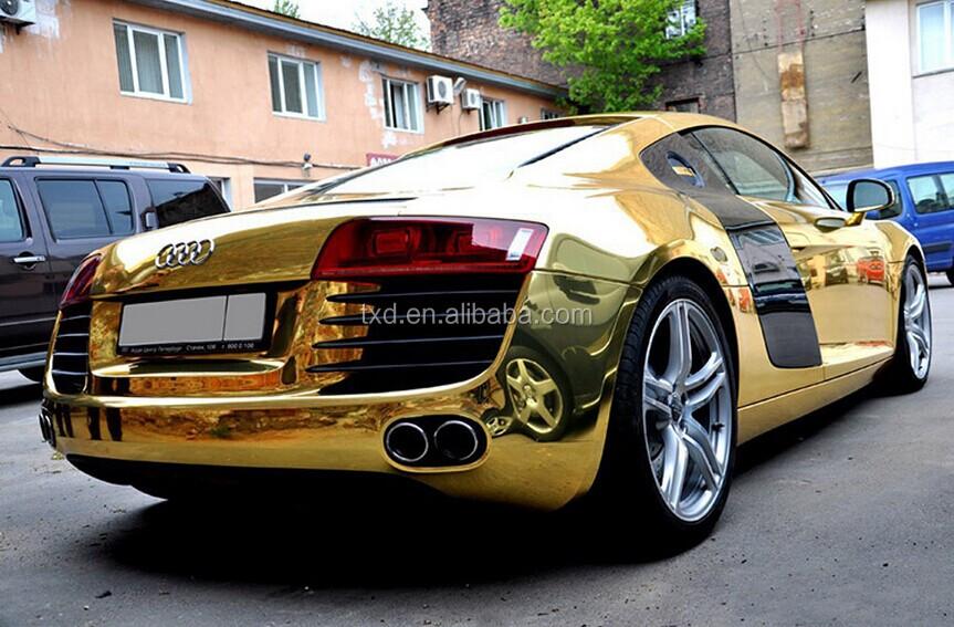 Gold Chrome Chrome Mirror Gold Car Wrap