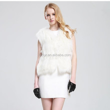 QC2320-2 natural real white fox fur knitted waistcoat vest