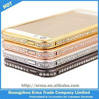 2014 New Wholesale Luxury Crystal Rhinestone Diamond Bling Crossline Metal Bumper Case for iPhone 5 5S 5G