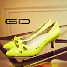 Yelow Sexy Ladies Dress Shoes Women shoes Crocodile Grain pattern High Heels Stilettos Shoes&Pumps For Womens