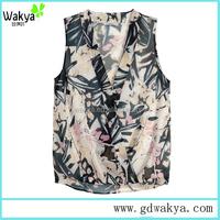 2016 women sexy floral print top sleeveless blouse