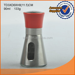 90ml hot selling stainless steel coated glass salt and pepper shakers