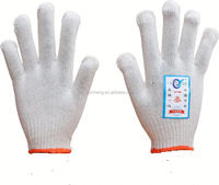 7/10 gauge white knitted cotton gloves manufacturer in china/grip dots cotton glove