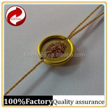 2015 GZ-Time Factory Customized gold metal key string hangs label with logo wholesale,gold metal logo string hang label
