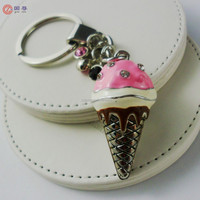 High-end Food Simulation Ice Cream Key Chains Key Rings Trinket Key Fob Little Items Novelty Key Finder Key Circle