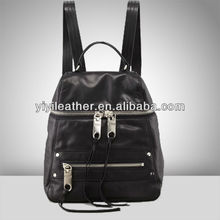 2598-2015 Newest leather back pack zipper black backpack