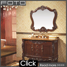 FO1101 superior quality top class bathroom double sinks cabinet with marble countertop