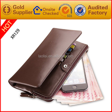 Brand design Genuine Leather Long Wallet with many card holder RFID Blocking Mens wallet