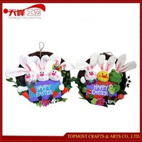 Easter Festival Outdoor Hanging Decoration,Animal Rattan Wreaths with Painted Wooden Sign