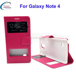 New product clear view case for Samsung galaxy Note 4,window view leather flip cover case for Samsung galaxy Note 4