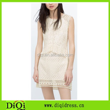 Falbala waist splicing crochet dress for woman summer imported from china