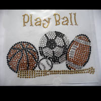 wholesale iron on t-shirt stickers basketball rhinestone design for garment