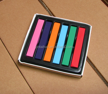 Cool 6 colors Long Non-toxic Temporary DIY Hair Chalk Dye Soft Pastels Salon Kit