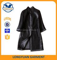 reversible long korean style lady leather jacket