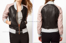 Custom made Ladies Wholeasale Colored Leather Bomber Jackets
