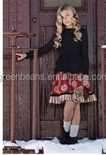 2015 New black long sleeve top floral red shirt outfits boutique girls clothing sets