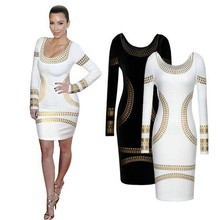 S60601A European and American style long sleeve woman dress