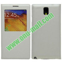 Leather Material Battery Backup Case for Samsung Note 3 III N9000 with Screen Window