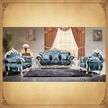 Foshan Factory Supply Blue Sofa Set Antique Furniture On Sale Wood and Fabric Sofa
