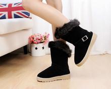 Warm lady fashion flat heel winter boots 2016