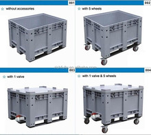 Bottom price Plastic box pallet, Plastic Container with Lid & Wheels & valve or not
