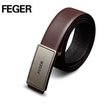 Classic Mens 100% Genuine Leather Hardware Automatic Buckle Belts