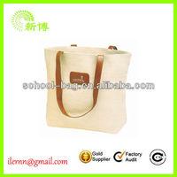 Natural Tote Hemp Burlap Jute Bag With Cotton Webbing Handles