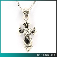 925 Sterling Silver Snake&Cross Shape Pendant for Necklace